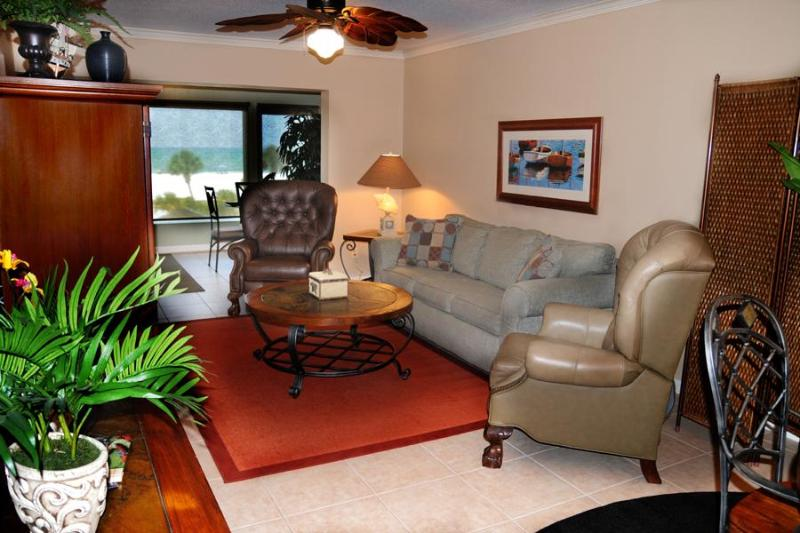 Living Area. Beach and Gulf  view as soon as you enter our beach front home. Sofa is a sleeper bed. - Luxury Romantic Oceanfront Siesta Beach Condo #304 - Siesta Key - rentals