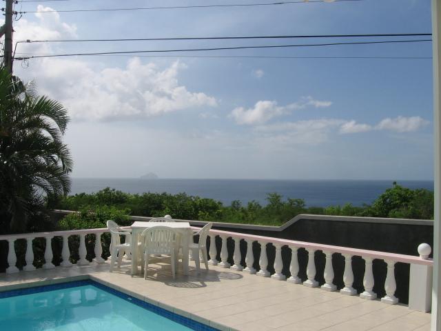 Pool deck & View of Caribbean Sea - Beautiful Montserrat Villa - Rosedale - Olveston - rentals
