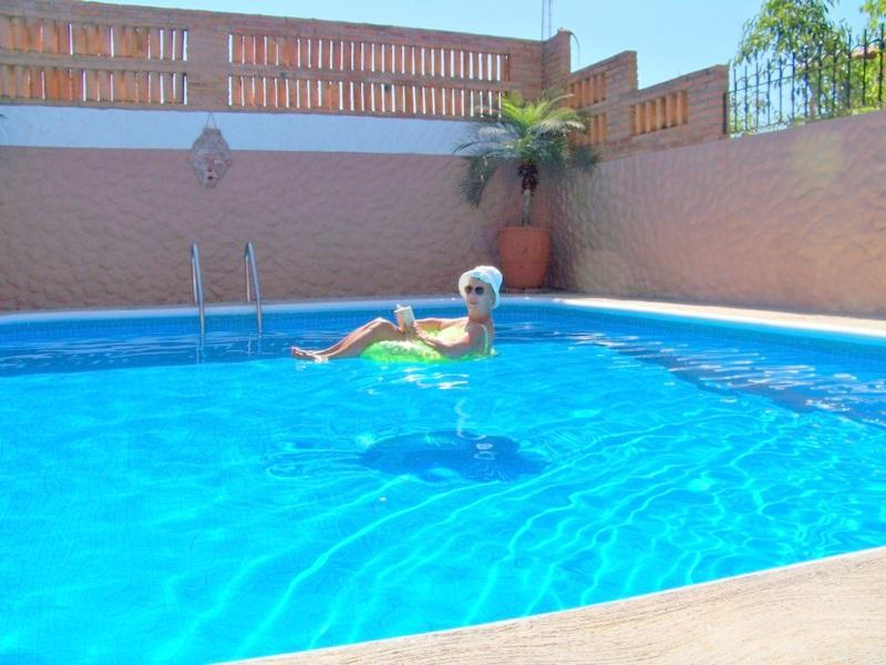 Our large sparkling pool, 3 ft deep each end, 6 ft in middle, has daily care . - 2 Bdrm Villa, Pool, Walk to Beach, Glorious Sunset - La Penita de Jaltemba - rentals