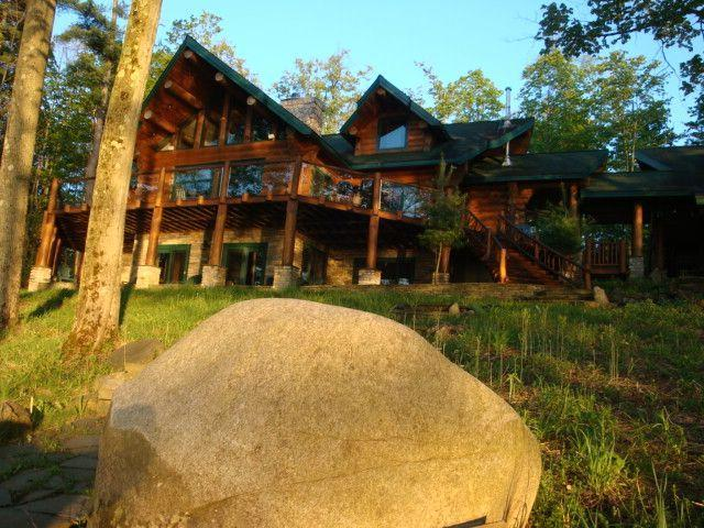 LOOKING AT THE LODGE FROM THE WALKWAY - Ultimate Lake Front Log Home for up to 12 Guests - Cooperstown - rentals