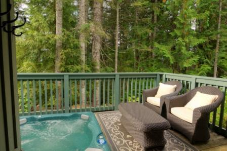 Partially covered deck with extra comfortable seating, private hot tub and BBQ. - Ski In/Out, Private Hot Tub, Family Friendly, 3BR - Whistler - rentals