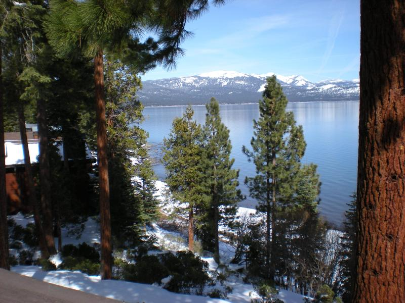 Lakefront view looking northeast from deck - Lake Tahoe Lakefront  Condo w/Panoramic Views - Tahoe City - rentals