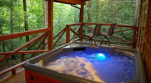 Off the deck of The Compleat Angler - Secluded Log Cabins with Hot Tub Near Chimney Rock - Chimney Rock - rentals