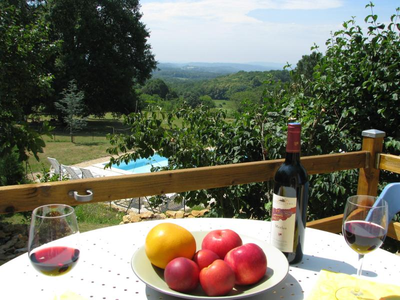 Le Fournil terrace and view - Sarlat, Le Fournil, cottage, pool, views, Dordogne - Sarlat-La-Caneda - rentals