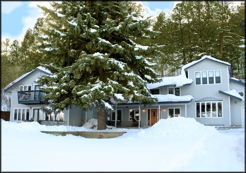 Tall Spruce House in the winter. Skiing just 15 minutes away. Ski discounts for larger groups. - TALL SPRUCE HOUSE-Walk to Hot Springs, sleeps 2-22 - Durango - rentals