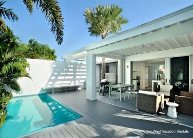 """Comfortable Deck Area with Pool View.Outdoor Living Area and Poo - """"ISLAND RENDEZVOUS"""" Gorgeous Old Town Home w/ Private Pool - Key West - rentals"""