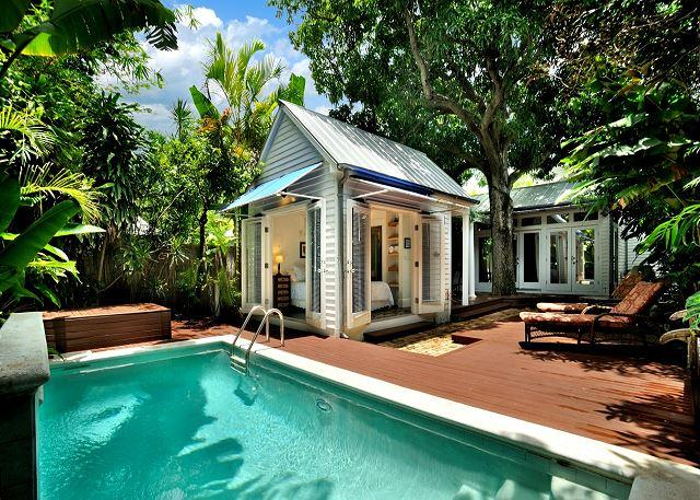 Private Heated Pool with Waterfall - Villa Azul - Luxurious Home w/ Private Pool, Deck & Gorgeous Interior. - Key West - rentals