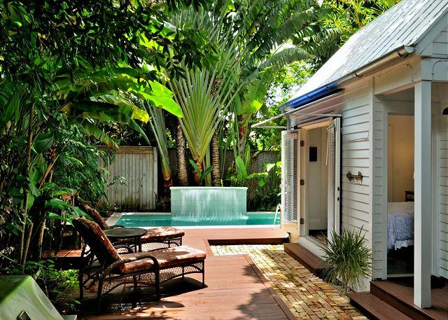 """Lush Gardens Surround the Private Heated Pool and Deck Area - """"VILLA AZUL"""" Luxurious Monthly Home w/ Pvt Pool, Deck & Gorgeous Interior. - Key West - rentals"""