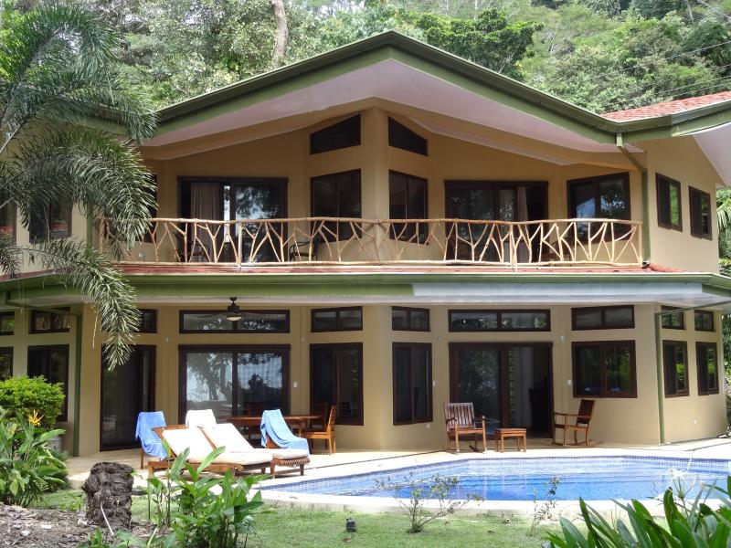 Home sweet home. Two bedrooms are upstairs, one bedroom and living, dining, and kitchen downstairs. - Beachfront Home with Gorgeous Pool near Dominical - Dominical - rentals