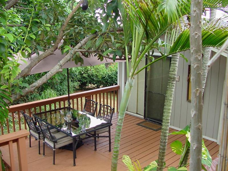 View of Private Deck and Entry - Studio Cottage~Private Jacuzzi~Washer/Dryer - Lihue - rentals
