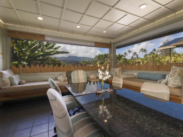 Enter into the spacious Lanai Dining & Lounging Lanai~A beautiful view of the Mountains all around - RAINBOWS & WATERFALLS~ISLAND STYLE~WALK TO BEACH! - Hanalei - rentals