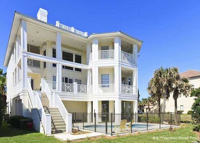 Casa La Duna has 2000 square feet of patio & balcony space! - Casa La Duna Beach Mansion, 6 Bedrooms, Elevator, New Pool, HDTV - Palm Coast - rentals