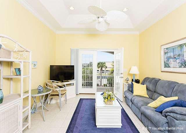 Relax in front of the huge HDTV in the living room. - Villas Ocean Gate 353, 2 pools, HDTV, Updated - Saint Augustine - rentals