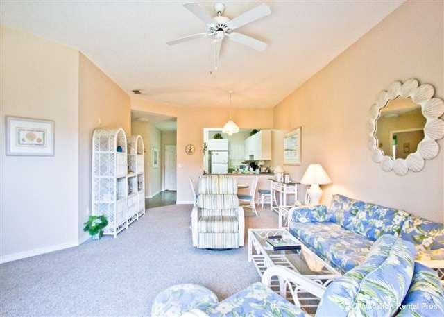 Relax in our living room before heading out to enjoy your vacay! - Ocean Village R34, 3rd Floor, Elevator, 2 pools, tennis - Saint Augustine - rentals