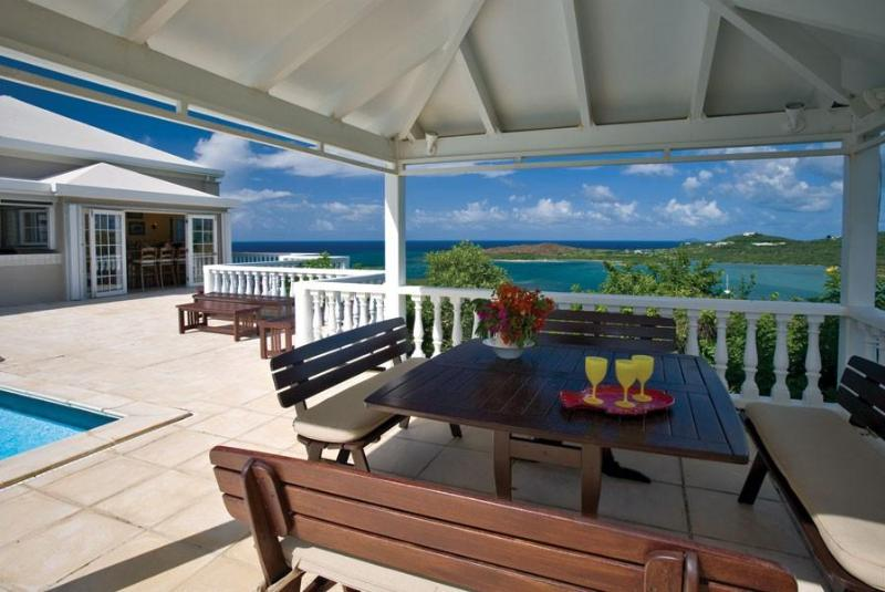 Outdoor poolside dining with spectacular views - Featured in HGTVs Caribbean Life! - Saint Croix - rentals