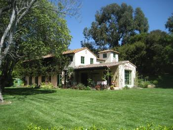 exterior view of gorgeous french country home taken from the garden - Charming Mediterranean Estate & Guest Cottage - Santa Barbara - rentals