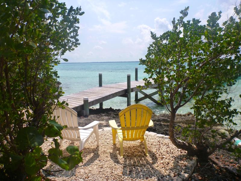 Walk to dock, jump in the water or have a seat - Gone Bananas on Lubbers...secluded but not isolated! - Tilloo Cay - rentals