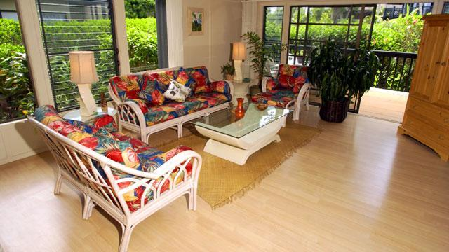 living room--high windows and high ceiling - Tropical Family Villa - 5 min. walk to beach! - Princeville - rentals