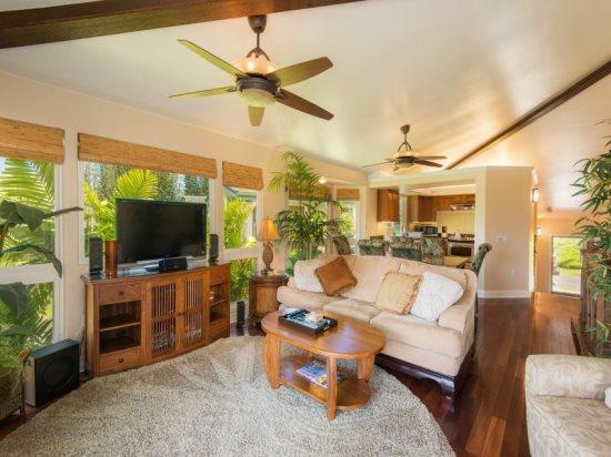 living room  - Villas of Kamali`i #20 - Beautifully remodeled with a stunning interior, two master bedrooms, A/C in gated community. Sleeps 6. - Princeville - rentals