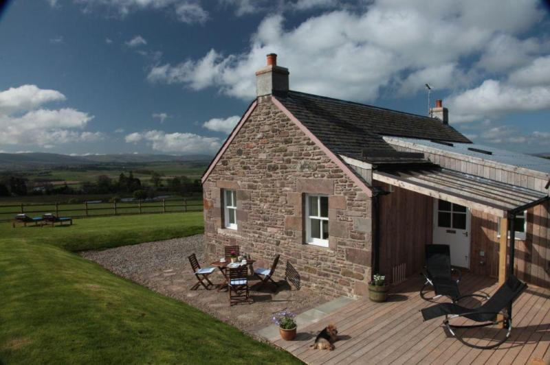 Private, sheltered sun terrace with stunning views over the Strathearn Valley and beyond. - Award-Winning,  Luxury 5 Star Private  Retreat,  Tennis Court, Fishing - Auchterarder - rentals