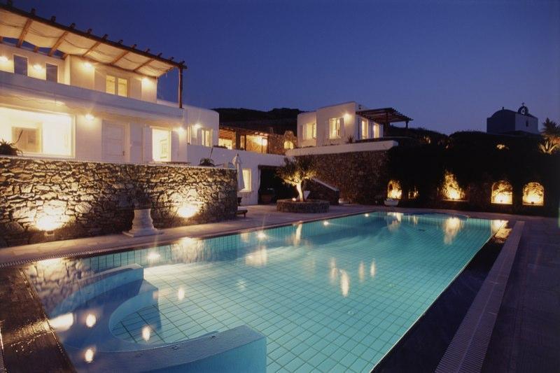 Villa Galaxy and pool view by night: A different Villa Galaxy Experience! - 4 suites, Jacuzzi pool, art, zen villa, Mykonos! - Mykonos - rentals