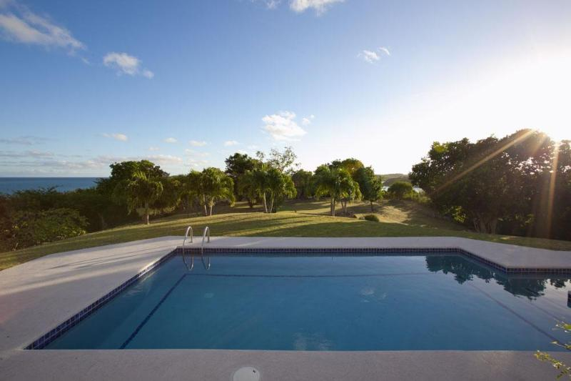 Morning view over the pool to the lawn. There is sea beyond on 3 sides. - Antigua - Jasmine Hill House - Antigua - rentals