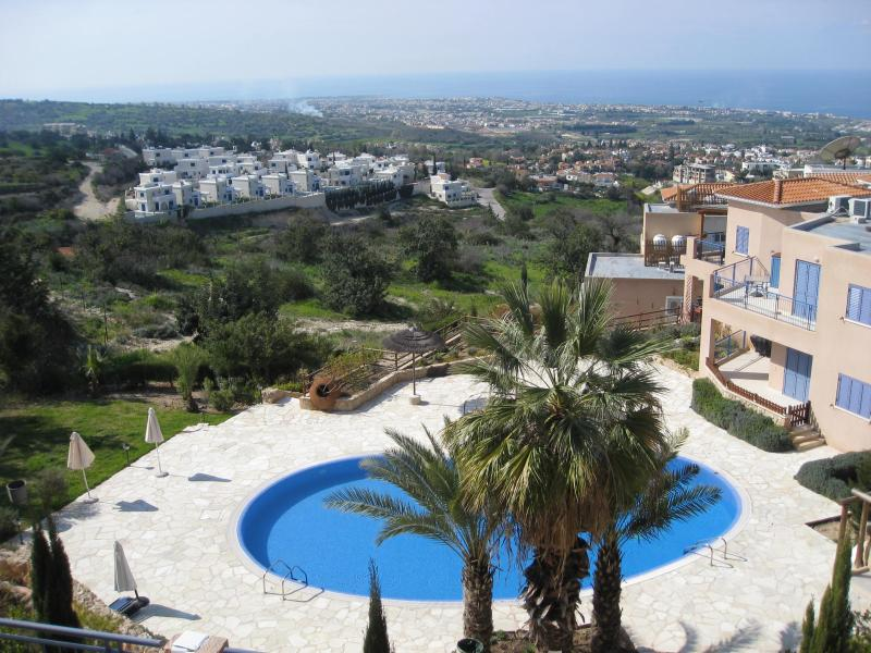 Panoramic view from the large covered veranda across the pool, down to the coastline and the Med. - Apt VICTORIA panormamic views to the Mediterranean - Tala - rentals