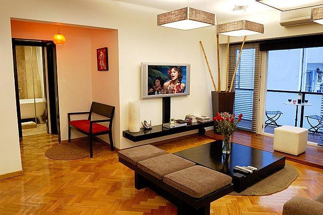 Living room with LCD TV with DVD Player - Upscale Furniture with Balcony off living room - AP2 - Ultra Luxury 2 Bed - 2.5 Bathrooms - Balcony - Buenos Aires - rentals