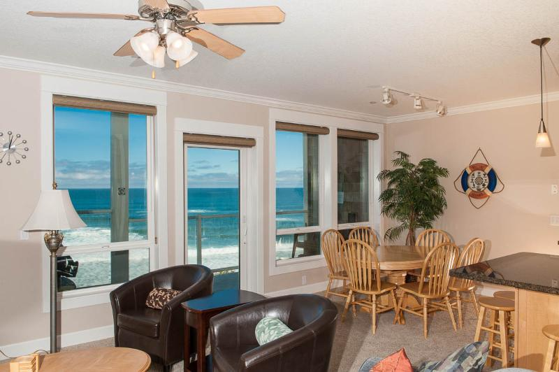 Oceanfront Living Room - *Promo!* - Oceanfront Condo with Private Hot Tub, Indoor Pool, WiFi, HDTV & More - Lincoln City - rentals