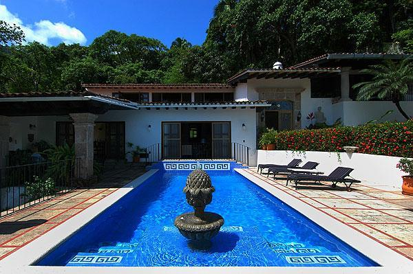Large pool with dining patio right outside your living area - Private,Authentic Mexican Hacienda with everything - Puerto Vallarta - rentals