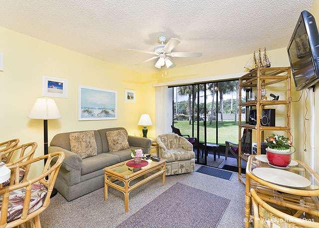 A view of our beautifully furnished living room with HDTV! - Ocean Village B15, Ground Floor & Lanai, 2 pools, new HDTV - Saint Augustine - rentals