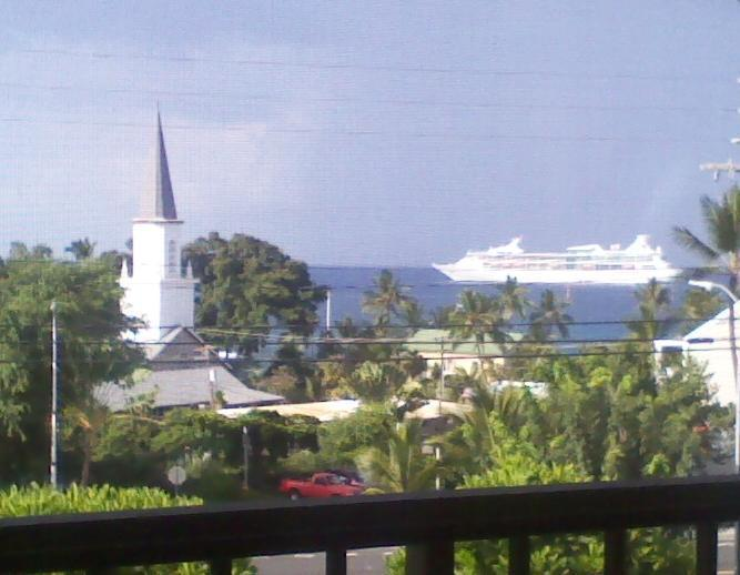 View cruise ship from the lanai - TROPICAL OCEAN VIEW CONDO - Kailua-Kona - rentals