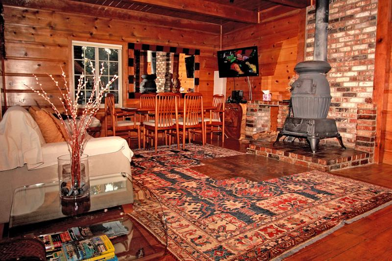 Modern Knotty Pine Cabin Living Room with Vintage Woodstove - Steps to Heavenly Gondola:Modern Knotty Pine Cabin - South Lake Tahoe - rentals