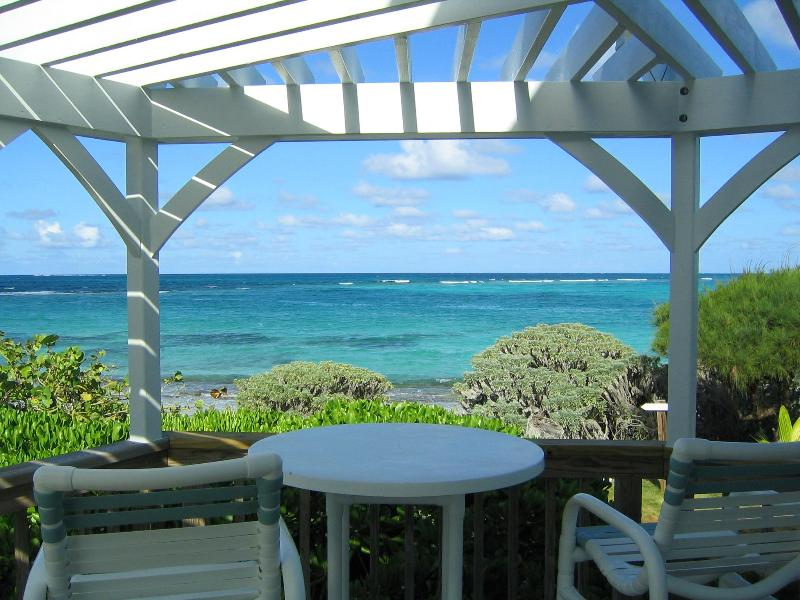 The Atlantic from the deck just 40' to the beach - Tranquility beach front home with ocean kayaks - Green Turtle Cay - rentals