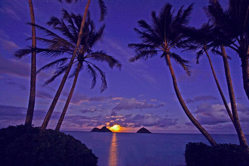 Moon rising - Ocean Air ,Largest Swimming Pool in the world - Kailua - rentals