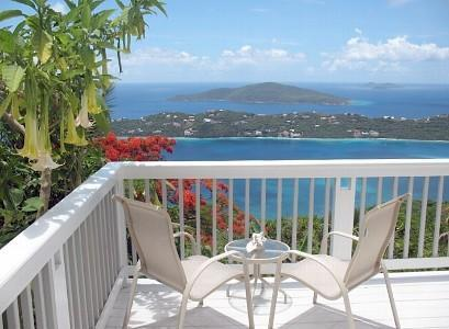 deck with Angel Trumpets in bloom - Million Dollar View - Magens Bay - rentals