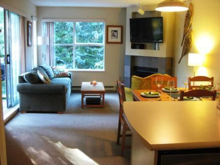 Living Room. Dining area seats 6 comfortably - pull table out from the wall. Extra chair in bdrm! - Stone Family Ski Pad - Slopeside 2bdrm/ba/flat scrns, hot tub, fully loaded - Whistler - rentals