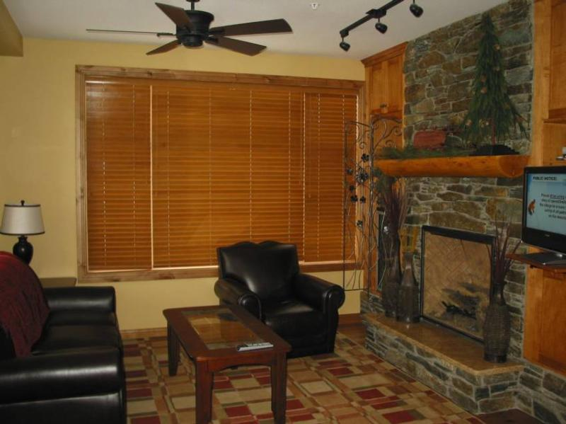 Living room with fireplace,wine fridge, TV - Big White Ski Condo - British Columbia - rentals