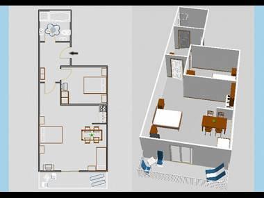 A4(2+3): floor plan - 03004VIS  A4(2+3) - Vis - Vis - rentals