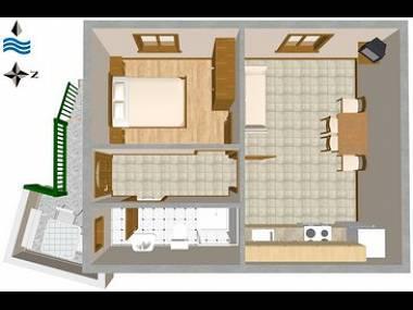 A3(2+2): floor plan - 03604VIS  A3(2+2) - Vis - Vis - rentals