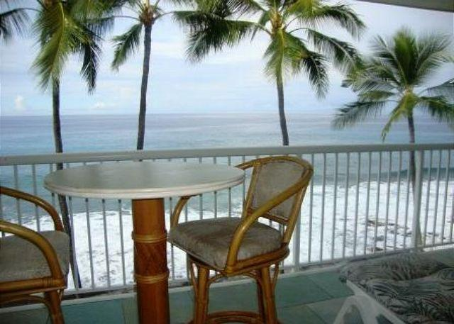 Actual View from the lanai - KMS313  TOP FLOOR DIRECT OCEANFRONT!!! Wifi in condo! Gorgeous! - Kailua-Kona - rentals