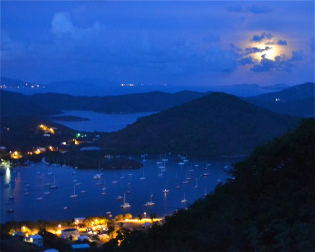 Watch the full moon rises over Coral Bay from Stonegarden Cottage, St. John Rental - Afforable Charming Cottage w/Awesome Water View & Location, $150/nt - 2-8 p - Coral Bay - rentals