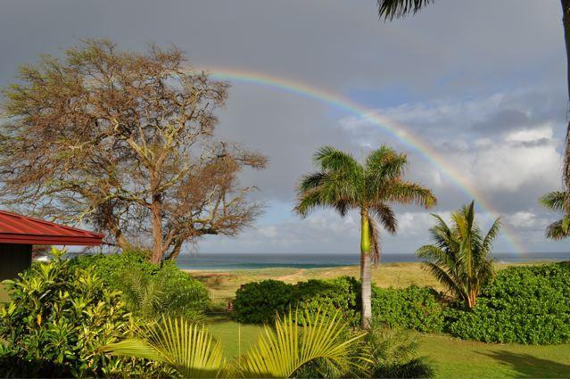 Wake up to a full Rainbow right off of Master Suite\'s deck - 7 Acre Estate on Papohaku Beach Sleeps 12 - Maunaloa - rentals