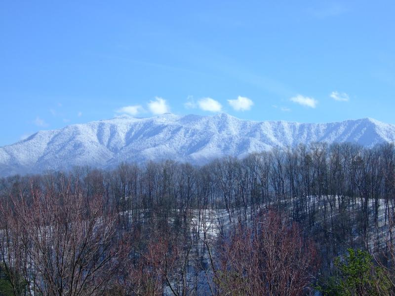 Snow covered Mt. Leconte views.  This is the nearest ridge in front of cabin with Mt. Leconte behind - Moonshine Cabin --secluded mountain top! - Pigeon Forge - rentals