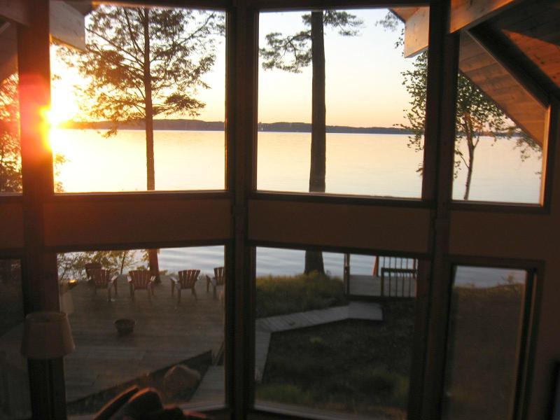Sunset through Wall of Windows - Sunset Beach House HDTV-Wifi 225' Private Beach! - Traverse City - rentals