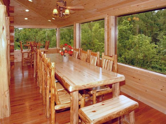 dining on glassed in porch - STUNNING LUXURY CABIN 4 FAMILY REUNIONS, RETREATS! - Sevierville - rentals