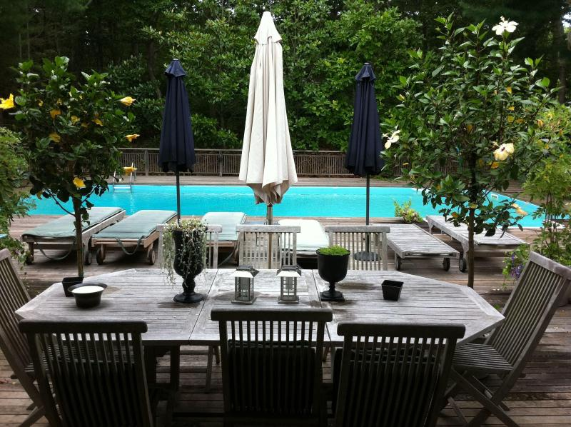 Outdoor teak table seats 8. - Summer 2017!  Beautiful East Hampton Home - East Hampton - rentals