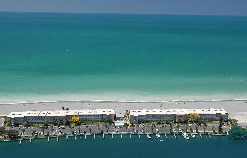 Aerial view of Fisherman's Cove at Turtle Beach on Siesta Key - Siesta Key 2-BR - Direct Gulf Front - Turtle Beach - Siesta Key - rentals