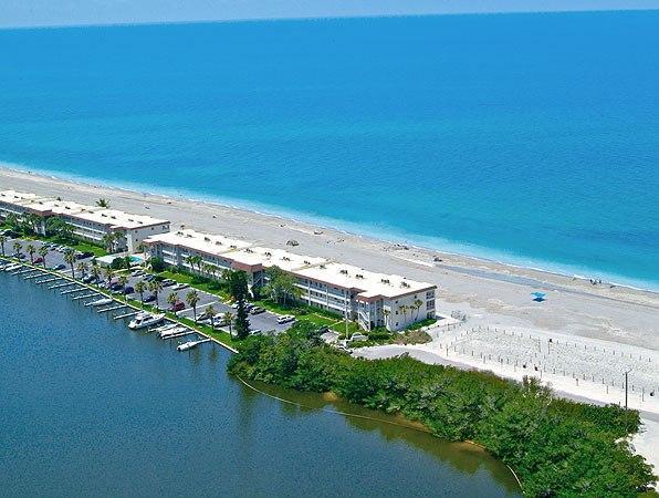 Aerial view Fisherman's Condominium at Turtle Beach on Siesta Key Florida - Beachfront - 1BR Condo - Free Boat Docks - Siesta Key - rentals