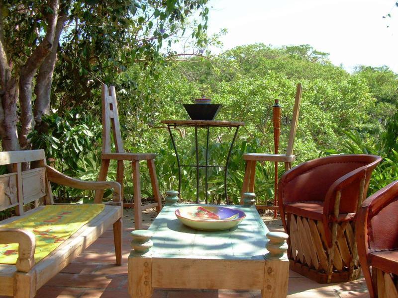 patio. main house - Exotic jungle 2 BR, secluded beach- Sayulita, Mex - Sayulita - rentals